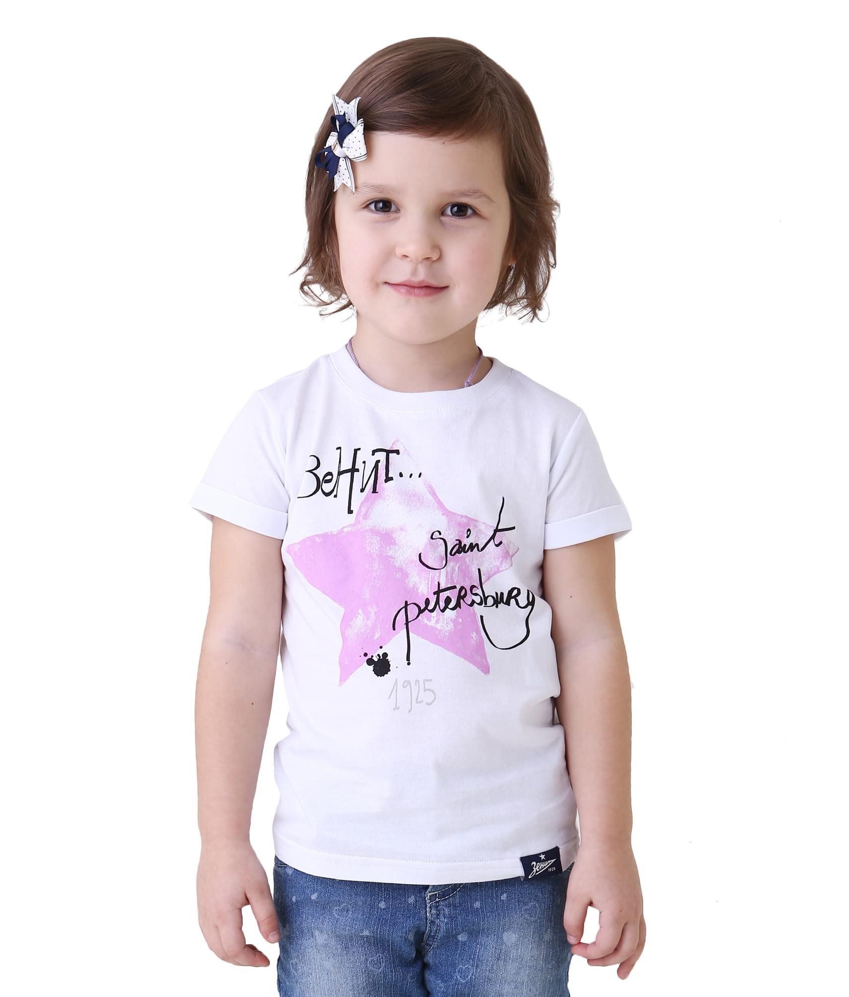Футболка детская, Цвет-Бело-Розовый, Размер-158-164 халат медицинский лиза р 44 46 158 164 бело бирюзовый