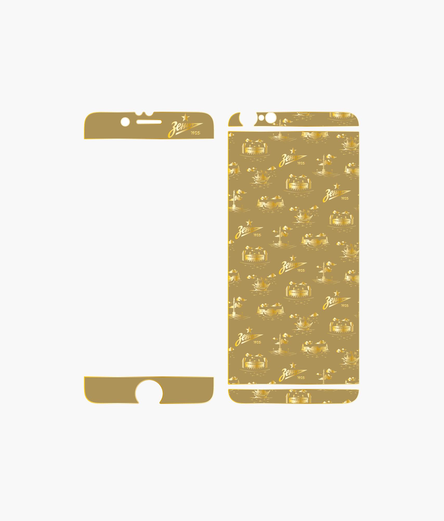 Фото - Золотая наклейка на Iphone 6 «Город» Зенит наклейка